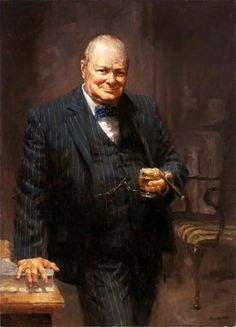"""Winston Churchill by Andy Thomas """"he has all the virtues I dislike and none of the vices I admire""""Winston Churchill of a rival politician. Winston Churchill, Churchill Quotes, Elizabeth Ii, Churchill Paintings, Shocking Facts, Portraits From Photos, Photographs, Inspiration Art, British History"""