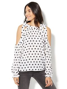Shop Cold-Shoulder Blouse - Heart Print. Find your perfect size online at the best price at New York & Company.