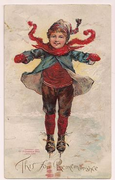 Early 1900's Child on ice skates ice skating vintage postcard..
