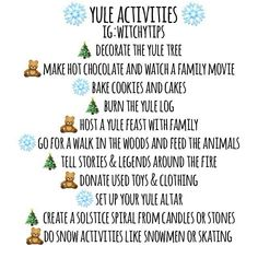 Some activities you can enjoy for Yule! Wiccan Sabbats, Wicca Witchcraft, Magick, Celtic Paganism, Pagan Yule, Pagan Witch, Witches, Yule Celebration, Snow Activities