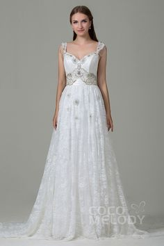 Classic Sheath-Column Straps Natural Court Train Lace and Satin Ivory Sleeveless Open Back Wedding Dress with Appliques Beading and Bowknot LWZT140B8#cocomelody#weddingdresses#bridalgowns#