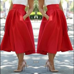 Vintage Women Stretch High Waist Skater Flared Pleated Swing Long Skirt Dress in Clothing, Shoes & Accessories, Women's Clothing, Skirts Red High Waisted Skirt, Pleated Midi Skirt, Dress Skirt, Waist Skirt, Flared Skirt, Swing Rock, Red Skirts, Long Skirts, Fashion Clothes