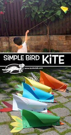http://krokotak.com/2017/06/simple-bird-kite/: Drachen basteln, fliegen, Papier falten, Flugvogel, Vogel, Schnur, alle Klassen, Kunst