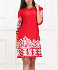 Look at this Red & White Lace-Print Shift Dress - Women on #zulily today!