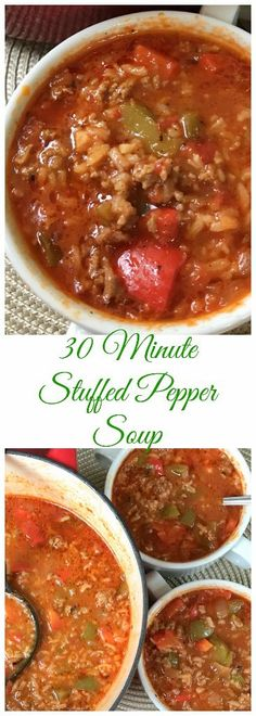 This 30 Minute Stuffed Pepper Soup has the same awesome flavors of stuffed peppers with less work. Just think of it as deconstructed stuffed peppers. Crockpot Recipes, Cooking Recipes, Healthy Recipes, Keto Recipes, Good Soup Recipes, Salad Recipes, Vegetarian Recipes, Slow Cooker, Dinner Ideas