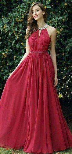 ccd0b5b75df7 Simple Halter Burgundy A-Line Chiffon Long Prom Dress Red Wedding Dresses