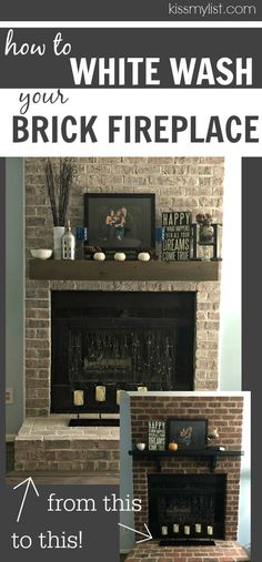 How to whitewash your brick fireplace (without calling a professional) via @kissmylist