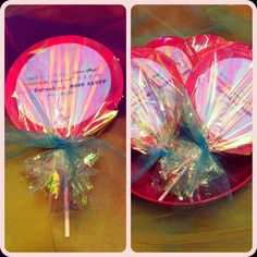 Sweet shop birthday party invitations! I glued the pink circle on to a sucker stick & wrapped with cellophane!