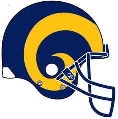 Los Angeles Rams Alternate Logo (1989) - Side view of a dark blue helmet and facemask with yellow ram horns