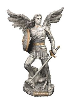 Powerful yet beautiful Saint Michael statue from the Veronese Collection. Saint Michael is known to protect people from harm, danger or evil. He is very popular with anyone who has a dangerous job suc Catholic Gifts, Religious Gifts, Saint Michael Statue, Italian Statues, St. Michael, Angel Warrior, Angel Statues, Archangel Michael, Flash Art