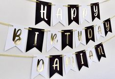 Happy Birthday Signs, Gold Birthday Party, Golden Birthday, Happy Birthday Parties, Farm Birthday, Simple Birthday Decorations, Gold Party Decorations, Anniversary Banner, Cadeau Couple