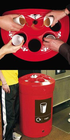 This Envoy™ model is a purposely designed cup recycling bin which features a cup-stacking liner and separate waste liquid funnel for ease when emptying. #GlasdonUK #Recycling #Bin #RecyclingBins #CupRecycling