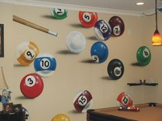 https://www.youtube.com/user/Bilijar9 - pool balls mural idea - basement
