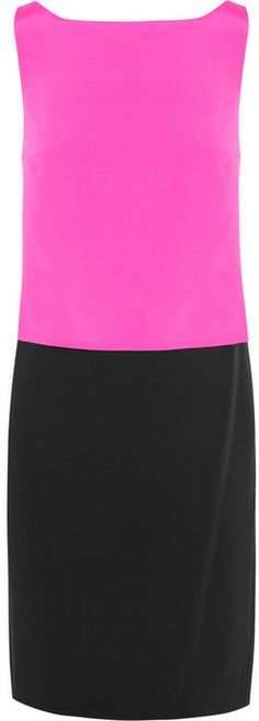 DKNY Color-block stretch-silk and crepe dress on shopstyle.com