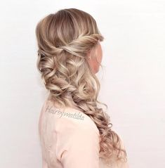 4 Pretty Braided Hairstyles - Dutch side braid with curls from #hairbymatilda & some added highlights