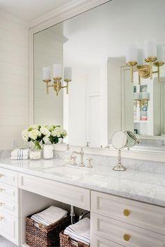 silver Bathroom Decor White bathroom with brass finishes. White bathroom with brass finishes white-bathroom-with-brass-finishes J amp; J Design Group, LLC White Vanity Bathroom, Small Bathroom, Master Bathroom, Gold Bathroom, Bathroom Mirrors, Bathroom Ideas, Interior Design Inspiration, Bathroom Inspiration, Design Ideas