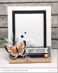 Card butterfly butterflies MFT Die-namics #mftstamps Frame mine scalloped rectangles Enamel dots leaves