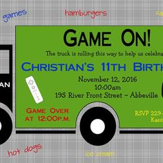 game truck gamer personalized photo birthday party invitation by lulucole 1000 video game party printable game truck gamer pinterest video game - Video Game Party Invitations