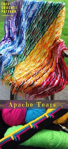 Apache Tears [Free Crochet Pattern] Crochet → Blanket Throw | size: any | Written PDF | UK Terms Level: upper beginner yarn: Worsted (9 wpi) hook: 5 mm Author: by Sarah London