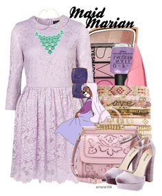 """""""Maid Marian"""" by amarie104 ❤ liked on Polyvore featuring Too Faced Cosmetics, H&M, OPI, Lydell NYC, Disney, Dolce&Gabbana and JustFab"""