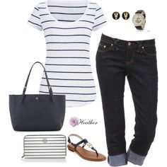Navy Stripe by hrtheo on Polyvore featuring maurices, MICHAEL Michael Kors, Tory Burch, Fornash and Geneva