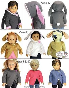 Sideline Bunny Jumper pattern to sew a hooded bunny, puppy or lamb sweater for 18 inch or 15 inch dolls such as American Girl and Bitty Baby. Pattern by Doll Tag Clothing.