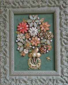 Jeweled Framed Jewelry Flower Bouquet Green Peach Multi Vintage by audreymivey on Etsy