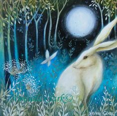 Moth Light an art print displayed in a mount/matt. Reproduced from an original painting by Amanda Clark.  The mystical white hare. A fairytale, dreamy style painting.  Image size approx 13x13cm with white boarder. Mount size 6cm. Off white. Overall size approx 27cmx27cm. Printed on epson archival photographic paper. Titled and signed on the back by the artist.  Wrapped in clear cellophane and securely packaged for shipping. Any questions, please contact me.  To see my blog page visit: ht...
