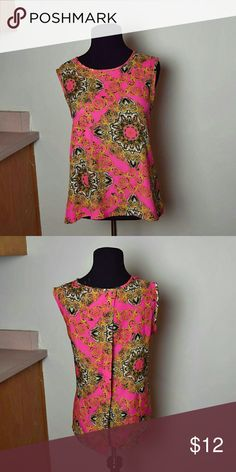 GORGEOUS Hot Pink Printed Blouse In like new condition! Beautifully made! Only worn once! Tops Blouses