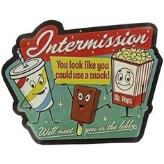 Buy DRIVE IN MOVIE pop corn Intermission Theater Cinema Vintage Style Signs coke tv at online store Theater Room Decor, Home Theater Setup, Home Theater Rooms, Vintage Advertisements, Vintage Ads, Vintage Signs, Retro Ads, Vintage Stuff, Antique Signs