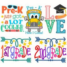 Pre-K Here I Come Back to School Cool Love Pack with Color Crayon, School Bus, Graduation Square Academic Cap 1st 2nd grade Arrow Cuttable Design Cut File. Vector, Clipart, Digital Scrapbooking Download, Available in JPEG, PDF, EPS, DXF and SVG. Works with Cricut, Design Space, Sure Cuts A Lot, Make the Cut!, Inkscape, CorelDraw, Adobe Illustrator, Silhouette Cameo, Brother ScanNCut and other compatible software.