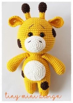 Little Playmate Giraffe  Head, Body and Legs: Starting with yellow color R1. Magic ring and 6 sc into it.
