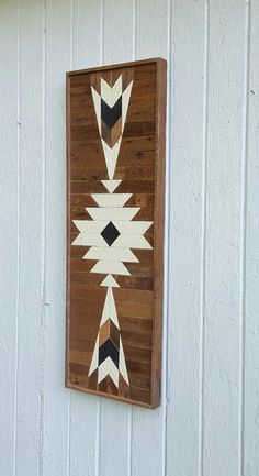 Reclaimed Wood Wall Art Decor Lath Art White Diamond