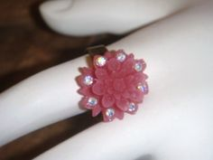 Flower Ring Antique brass adjustable pink by PaganCellarJewelry, $9.99