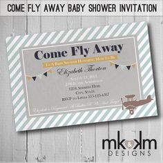 Come Fly Away Baby Shower Invitation : Airplane - Travel Theme- Vintage - Boy Shower - Girl Shower - Couple's Shower- Digital on Etsy, $5.50