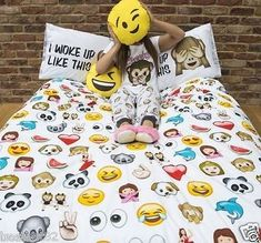PRIMARK-EMOJI-EMOTION-ICONS-DUVET-COVER-SET-Size-Single-Double-King-bedsheet