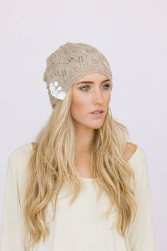 Women's Knitted Beanie Hat or Cap with Open Lace por ThreeBirdNest