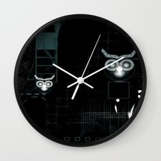"""Owls digital abstract illustration WALL CLOCK BLACK WHITE  Available in natural wood, black or white frames, our 10"""" diameter unique Wall Clocks feature a high-impact plexiglass crystal face and a backside hook for easy hanging. Choose black or white hands to match your wall clock frame and art design choice. Clock sits 1.75"""" deep and requires 1 AA battery (not included)."""