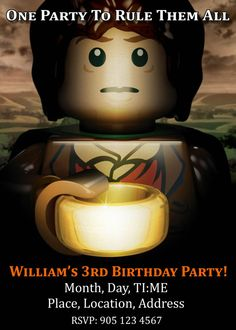 Lego Lord of the Rings Party Invite