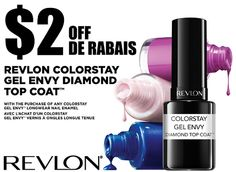 Save $2.00 off Revlon Colorstay Gel Envy Diamond Top Coat when you purchase any Colorstay Gel Envy Longwear nail enamel! Print your Revlon coupon now. Expires December 31, 2014...