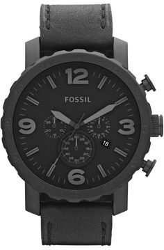 Fossil Nate Chronograph Black Ion-plated Mens Watch JR1354 < $114.95 > Fossil Watch Men