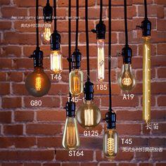 Free Shipping Edison Light Bulb Set Pendant Lamp Vintage Nostalgia DIY Wall Lamp Morden Decoration E27 Energy Saving-inPendant Lights from L...