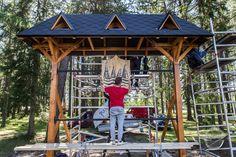 Camping area sign made from solid wood Leirintäalueen mainoskatoskyltti Custom Woodworking, Finland, Custom Made, Gazebo, Solid Wood, Outdoor Structures, Camping, Interior, Design