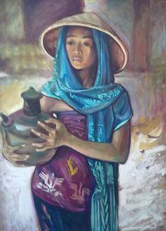 Barli Sasmitawinata - Gadis dan Kendi Poster City, Indonesian Art, Fashion Painting, King Kong, Balinese, Asian Art, Modern Art, Indie, Museum