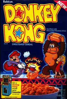 donkey kong cereal | ... cereal in the good ol'days when hammering barrels turned into cereal