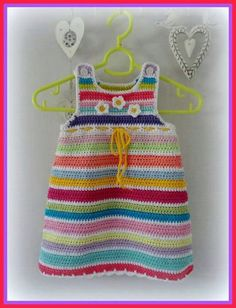Ideas For Crochet Patterns Free Baby Girl Dress Sweets Crochet Toddler, Baby Girl Crochet, Crochet Baby Clothes, Knit Or Crochet, Crochet For Kids, Crochet Romper, Crochet Dresses, Knit Dress, Knitting For Kids