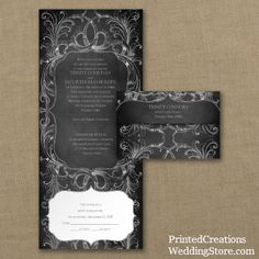 Chalkboard Flourish Seal 'n Send wedding invitation - charming vintage style for a chalkboard wedding theme.   #chalkboardweddinginvitations   www.PrintedCreationsWeddingStore.com