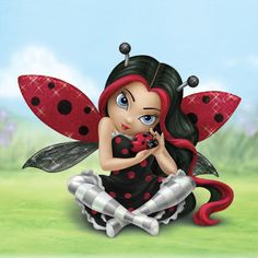 Fairy Cut As A Bug - Meticulously handcrafted and hand-painted in the signature style of acclaimed artist Jasmine Becket-Griffith, this fairy figurine coordinates in her ladybug friend with her polka dot dress, striped stockings, and ladybug-like wings enhanced with sparkling glitter. This limited-edition collectible is graced with the artist's specially-designed remarque!