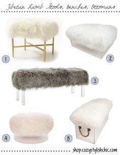 Tibetan Lamb Fur Stools, Benches, Ottomans via Cozy•Stylish•Chic