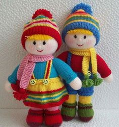 hand knitting for beginners free pattern Knitted Doll Patterns, Animal Knitting Patterns, Knitted Dolls, Knitting Designs, Crochet Dolls, Knitting Projects, Knitted Hats, Double Knitting, Loom Knitting